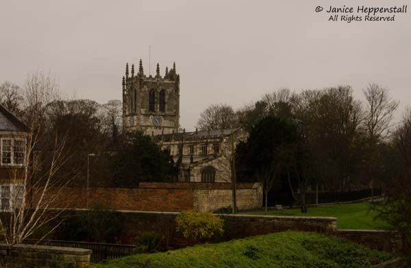 View of St Mary's church, Tadcaster, as seen from Tadcaster Bridge.