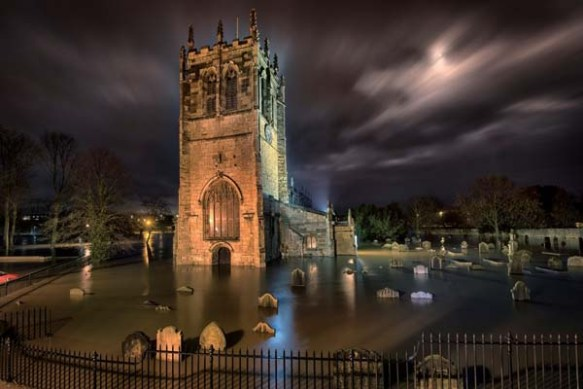 Church and churchyard flooded