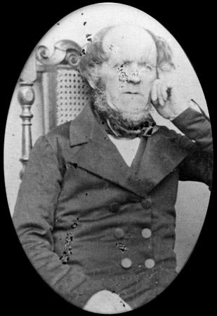 Photo taken circa 1858 of man aged about 60.