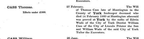 Entry on UK Probate Calendar, 1860