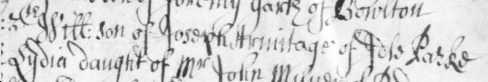 Text in secretary hand from an ancient baptism register