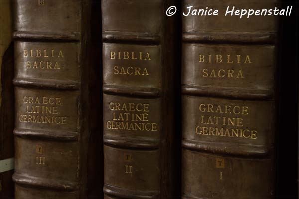 Ancient leather-bound Bible in 3 volumes, in Ancient Greek, Latin and German
