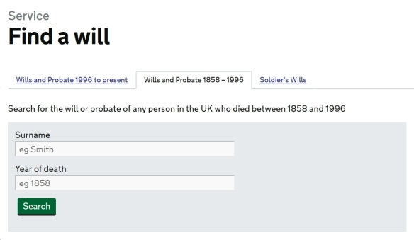 Screen grab from UK government's Find a Will website search page