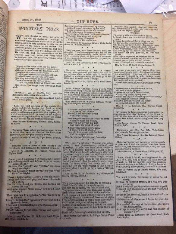 Full page of TitBits magazine dated April 1889, featuring responses to a competition for spinsters