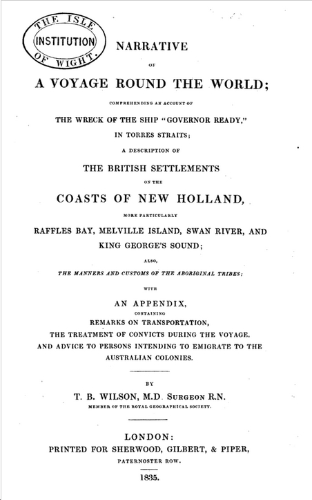 Title page of facsimile copy of TB Wilson's A Voyage Round the World, published 1835.