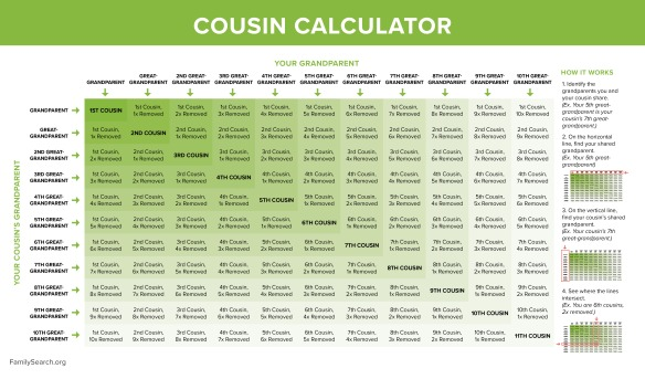 Grid enabling quick calculations of cousin relationships