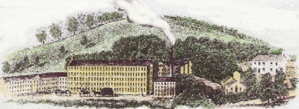 Early 19th century engraving of large flax mill
