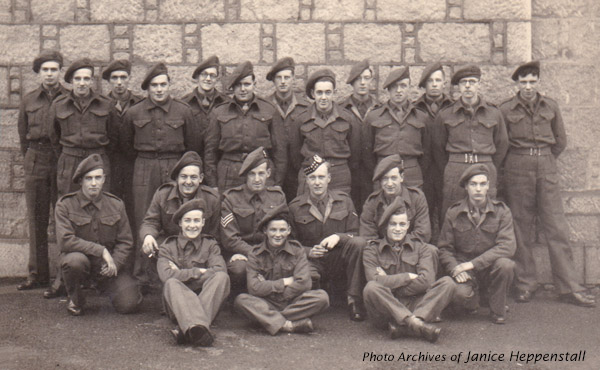 Black and white photo of group British Army National Service recruits